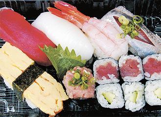 ▲日替わりのネタを心待ちにしているファンも多いランチ寿司。これで390円とは大変お得