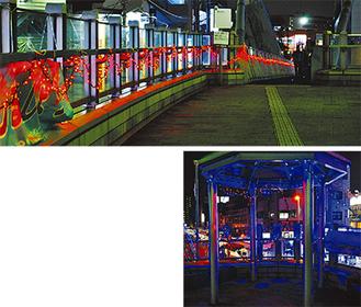 ハートのほか、天の川(下)をイメージしたイルミネーションが駅を鮮やかに彩る=淵野辺駅北口デッキ