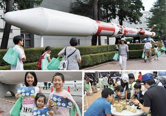 幅広い世代の来場者で賑わった特別公開=7月27日、JAXA相模原キャンパス