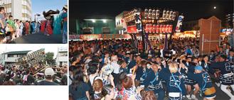多くの人でごった返した会場を縫うように巡行した本町の神輿(右)、祭典本部前で踊りを披露した田尻の山車(左上)、上溝ならではの「神輿もみ」を見せる石橋の神輿(左下)