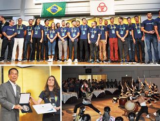 (上)来相したブラジル選手団(右下)演奏を披露した光明相模原高和太鼓部(左下)選手団代表のイズィ氏から記念品の贈呈を受けた加山俊夫市長=7月31日、南区相模大野
