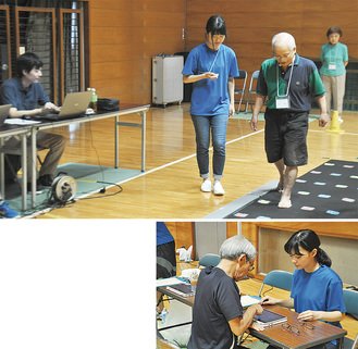 同チームの有志メンバーのもと、歩行測定や認知機能測定を行う参加者=23日、市立総合体育館