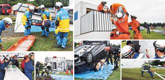 消防、県警、自衛隊のほか、市民も参加して実施された防災訓練=2日、相模総合補給廠一部返還地