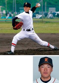 (上)力強い投球を見せる左澤投手(相模原南リトルシニア時)=母・イチ子さん提供(下)1日から始まる日本選手権に出場予定=JX-ENEOS提供