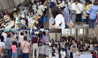 大勢の買い物客らでごった返した、手作りマルシェが開催された淵野辺駅北口のデッキ下ほか=19日