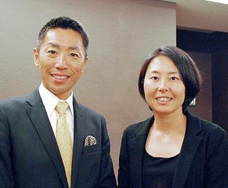 萩生田会長と飯島副会長=23日