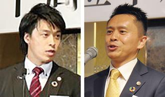 思いを語る共同代表の(左から)宇田川氏と藤田氏=6月、南区内