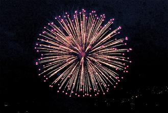 ドローンで撮影された花火=株式会社ワーナー・グレイ提供