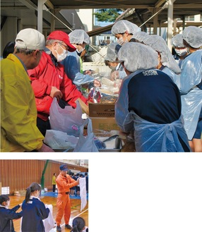 地域住民と炊き出しを行う生徒たち(上)・消防隊員から止血法を学ぶ生徒ら