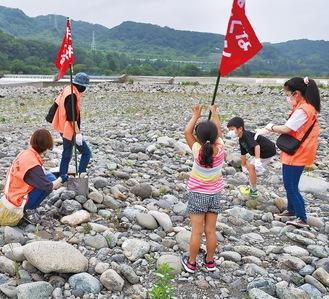 河川敷の石を集めて旗を固定する参加者=6月27日、高田橋下