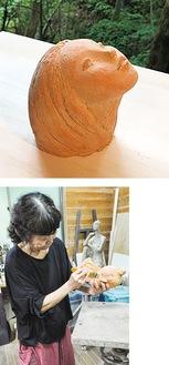 (上)出展作品「木もれ空」・工房で仕上げ作業をする田端さん