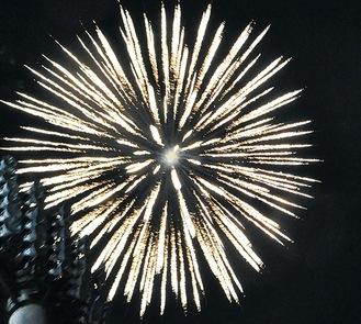 横山公園で約5分間打ち上げられた花火