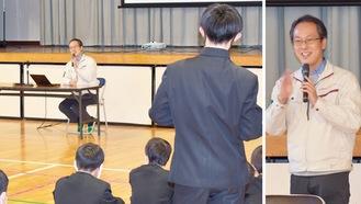 生徒たちを前に講演や宇宙についての質問に答える津田さん=昨年12月21日、由野台中