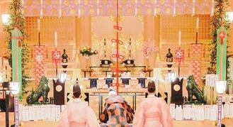昨年行われた節分祭神事の様子=亀ヶ池八幡宮