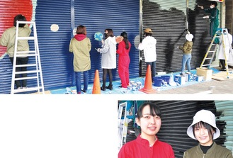 (上)4枚のシャッターに2種類の絵を描く桜美林大生=12日、淵野辺駅北口(下)中心メンバーの狩野さんと鹿野さん