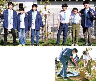 (上・左から)式に出席したボーイズの奥村純さん、植田二友さん、小野純さん、安藤光汰さん、奥山晴大さん、國島飛翔さん(下)土を盛るボーイズのメンバー =10日、上溝さくら公園