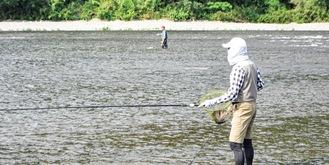 アユ釣りを楽しむ人々=高田橋付近。11日撮影