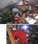 倒壊した建物上で状況を確認する同署隊員(上)/建物内に潜入し安否不明者を捜索=同署提供