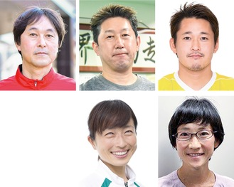 東京パラリンピックでメダル獲得・入賞を果たした(上・左から)中澤監督、田中コーチ、佐藤選手=(C)JBFA、(下・左から)道下選手、伴走者の青山さん