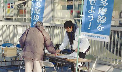 市内7駅で署名活動