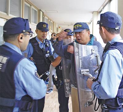 田名小と警察が共同訓練