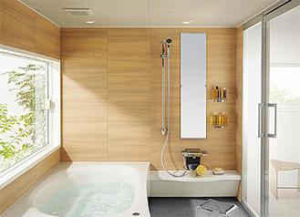 半身浴用ワイドベンチ付浴槽の施工例
