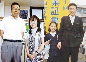 木下泰雄校長と上村千賀子さん(2012年8月)/細野千賀子さんと木下泰雄先生(1982年3月)