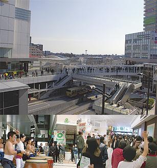 【上写真】駅(左手)からボーノへ向かう人の流れ