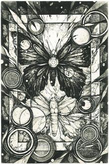 伊藤あずさ「彷徨いの蝶」2005/エッチング/18×12cm