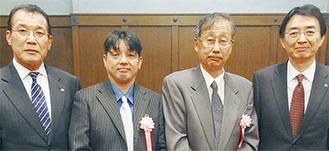 表彰を受けたトラットリアメルカート小川さん(中央左)とブティックFUSA清水さん(中央右)