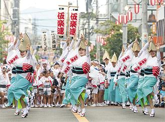 阿波踊りを盛り上げる地元の連。「ヤットサー」の掛け声が街中に響き渡る(写真は実行委員会提供)