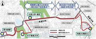 BRTの導入ルート ※1は都市計画決定済区間※2は将来的に多車線整備の位置付けがなされている区間
