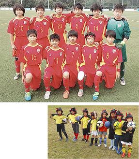 (右)ハロウィンの仮装をしたKIDSメンバー(上)県一部リーグで戦うJYチーム