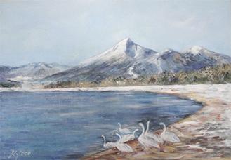 晋川さんの作品「冬の磐梯山と猪苗代湖の白鳥」