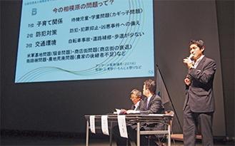 CSVについて語る八木委員長(右)
