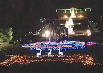 噴水広場がライトアップ