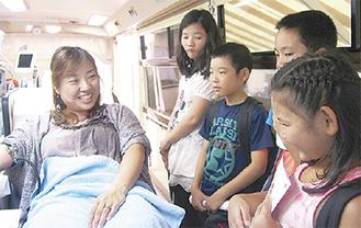 保護者の献血を見学できる