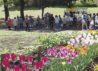 園内では、フリマや花苗、サボテン、多肉植物の販売も行われる