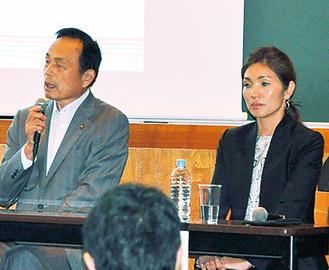対談する武田氏と市長