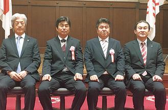 (左から)(一社)神奈川県商工会議所連合会 上野孝会頭、笹生剛氏、中田克己氏、中島正信神奈川県副知事