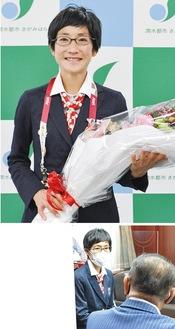 (上)日本選手団のブレザーを着用し、笑顔の青山さん(下)本村市長らに対して行った金メダルの報告会