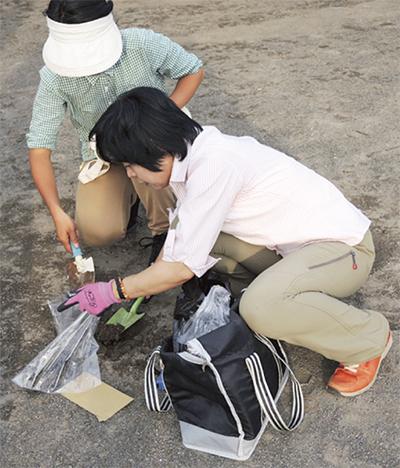 学校内の土壌を測定
