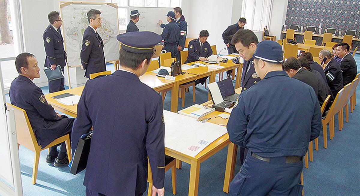 災害対策の応急訓練