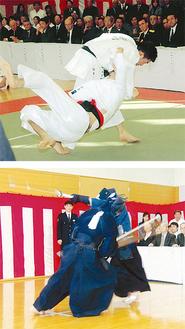 柔道、剣道の「高点試合」などで日頃の鍛錬の成果を発表した