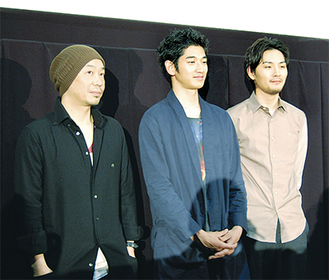 舞台挨拶に訪れた大森監督、瑛太さん、松田さん