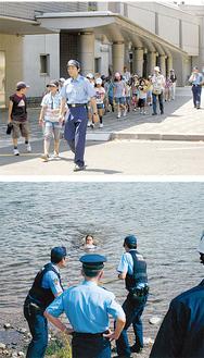 (上)新磯小の生徒が参加(下)本番さながらの中、行われた水難救助訓練