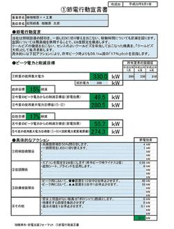 使用電力削減目標などを各事業所で設定した節電行動宣言書(内容は記入例)