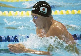 200m平泳ぎで迫力ある泳ぎを見せた北島選手