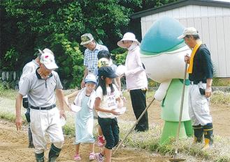 広田小の児童がミウルと一緒に種まきを体験