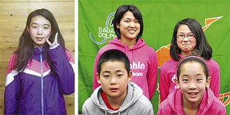 (写真右)ドルフィンの(前列左から)小方選手・中西選手(後列左から)小堀選手・江藤選手(写真左)桐花園の清水選手